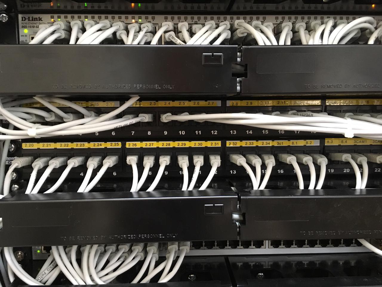 Установка коммутационных панелей СКС